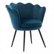 Mordern Velvet Accent Chair,Comfy Lotus Upholstered Armchair Single Sofa for Living Room/Bedroom Teal