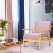 Giantex Mid-Century Modern Child Armchair w/Armrests, Sturdy & Durable Rubber Wood Club Chair w/Cushions, Wood Frame & Linen