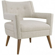 Modway Sheer Upholstered Fabric Mid-Century Modern Accent Lounge Arm Chair in Sand
