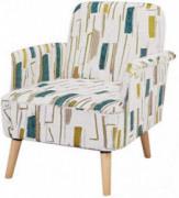Accent Chair lauraland, Unique Prints and Durable Fabric, Solid Wood Legs and High-Density Foam, Capacity Weight ups to 350 l