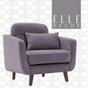 Elle Decor Chloe Upholstered Living Room Armchair, Fabric Couch, Mid-Century Modern Tufted Chair with Padded Back Cushion, Ar
