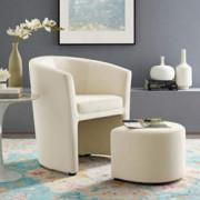Modway Divulge Performance Velvet Armchair and Ottoman Set in Ivory