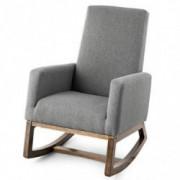 Giantex Upholstered Rocking Chair, Modern High Back Armchair, Comfortable Rocker Fabric Padded Seat Wood Base, Massage Rockin