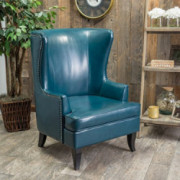 Great Deal Furniture Jameson Tall Wingback Teal Blue Leather Club Chair