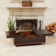 Rolando Rolling PU Leather Bar Coffee Table