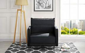 """Mid-Century Upholstered 35.4"""" inch Velvet Armchair, Living Room Accent Chair  Black"""