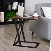 Tangkula Sofa Side Table, X-shaped Snack Table End Table, Coffee Tray Laptop Table Wood Look Finish & Metal Frame, Over bed T