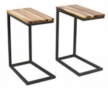 BirdRock Home Acacia Wood TV Tray C Side Table - Set of 2 - Industrial Design - Fully Assembled - Natural Bed Sofa Snack End