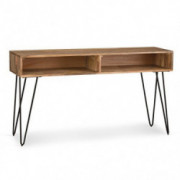 Simpli Home Hunter SOLID MANGO WOOD and Metal 55 inch Wide Mid Century Modern Console Sofa Table in Natural