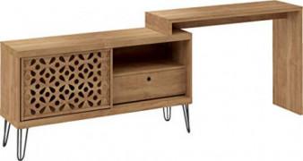 Corner Farmhouse Desk - Tv Stand For 50 Inch TV with Drawer Modern Laser Design Mid Century Versatile Furniture Wooden Indust