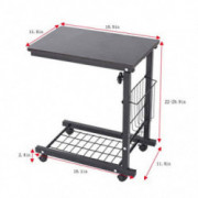 Furniture,Hstore Height Adjustable Sofa Side Table Wheel Mobile Computer Desk with Storage Basket Sofa End Table Side Table S