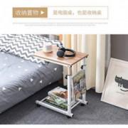 Household Height Adjustable Desk Sofa Side Table Wheel Mobile Foldable Computer Desk with Storage Basket for Home  Gold