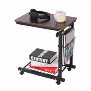 Qwork Side Table End Table C Table Snack Table Computer Laptop Workstation Coffee Tray Mobile Height Adjustable Desk with Sto