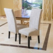 India Geometric Black Pattern on Beige Fabric Dining Chairs (Set of 2)