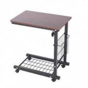 Hatoys Height Adjustable Sofa Side Table Wheel Mobile Computer Desk with Storage Basket  Brown