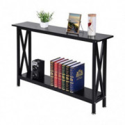 Auwish Entryway Console Table | Sturdy Metal Frame Sofa Table with 2-Tier Shelf for Living Room Small Spaces Narrow End Table