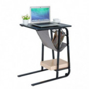 Side Table End Table C-Shape Table Computer Laptop Workstation Coffee Tray Overbed Table with Storage Basket Mobile Wheel for