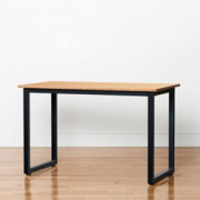 """Bamboo Side Table - 48"""" x 24"""" Computer or Printer Table/Small Kitchen Table with Steel Frame  Standard, Black"""