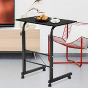 SSLine Magazine Snack Table on Wheels, Lifting Laptop Computer Desk Movable C-Shaped Overbed TV Tray Mobile Sofa Chair Side E