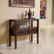 Noah Brown Mahogany Wood Accent Table