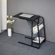 Household Bedroom Side Table, C-Shape Snack Table Bedside Computer Desk with Storage Basket End Table, Bedroom & Small Spaces