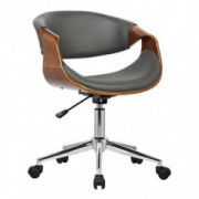 Armen Living Geneva Office Chair in Grey Faux Leather and Chrome Finish