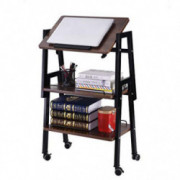 Movable Bedside Table, Adjustable Overbed Table with Wheels, 3-Storey Creative Sofa Table Side Table End Tables, Laptop Stand