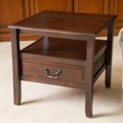 Noah Brown Mahogany Wood Short Drawer End Table