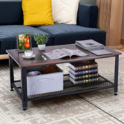 Ketteb Modern Home Coffee Table 2-Tier Cocktail Table with Storage Shelf for Living Room End Table/Side Table/Dining Table/So