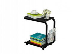 U-Shaped Side Table Portable Snack Cart Tray Computer Standing Desk with Wheels  Black