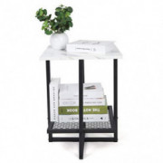 Keenso- Sofa Side Table, Modern X-Shaped Metal Frame Marble Top Snack Table Upgraded Water Resistant Accent End Table TV Tray