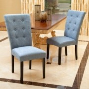 Leighton Blue Denim Fabric Dining Chairs (Set of 2)