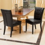Lindsay Black Leather Dining Chairs (Set of 2)