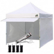 Eurmax 10 x 10 Pop up Canopy Commercial Tent Outdoor Party Canopies with 4 Removable Zippered Sidewalls and Roller Bag Bonus