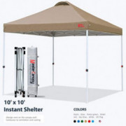 MASTERCANOPY Pop-up Canopy Tent Commercial Instant Canopy with Wheeled Bag,Canopy Sandbags x4,Tent Stakesx4 10x10 Khaki