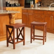 Casselberry Brown Mahogany Counter Stools (Set of 2)