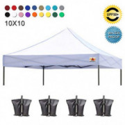 ABCCANOPY Pop Up Canopy Replacement Top Cover 100% Waterproof Choose 18+ Colors, Bonus 4 x Weight Bags  White