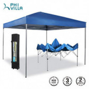PHI VILLA 10 x 10ft Portable Pop Up Canopy Event Tent Party Tent, 100 Sq. Ft of Shade, Blue
