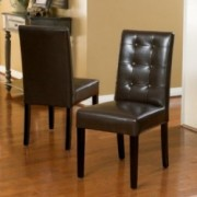 Gillian Chocolate Brown Leather Dining Chair (Set of 2)