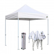 Eurmax 8x8 Feet Ez Pop up Canopy, Outdoor Canopies Instant Party Tent, Sport Canopy Bonus Roller Bag  White
