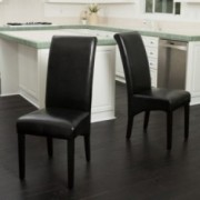 Morrow Black Leather Dining Chairs (Set of 2)