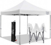 TUSY 10 x 10 Pop up Canopy Tent, Commercial Instant Canopies, Instant Folding Canopy with Heavy Duty Roller Bag, White