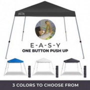 PORTA-POP One Button Easy Pop Up 10x10 ft Portable Folding Canopy Slant Leg Instant Shelter with Carry Bag, Dark Grey