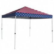 Palm Springs USA Flag of America Canopy Tent Instant Pop-Up Shelter with Wheeled Carry Bag, 10x10ft