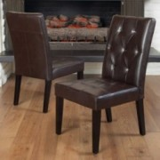 Dacey Brown Leather Dining Chair (Set of 2)