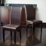 Morrow Brown Leather Dining Chairs (Set of 2)