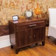 Glendora Brown Mahogany Solid Wood Storage Chest Nightstand