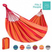 Best Choice Products 2-Person Brazilian-Style Cotton Double Hammock Bed w/Portable Carrying Bag - Orange