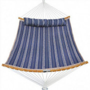 Patio Watcher 11 Feet Quilted Fabric Hammock with Curved-Bar Bamboo and Detachable Pillow, Double Hammock Perfect for Patio Y