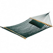 Castaway Hammocks 13 ft. Green Soft Spun Polyester Rope Hammock with Free Pillow